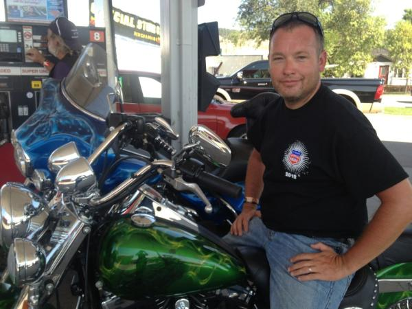 Robert White on his flex fuel motorcycle.